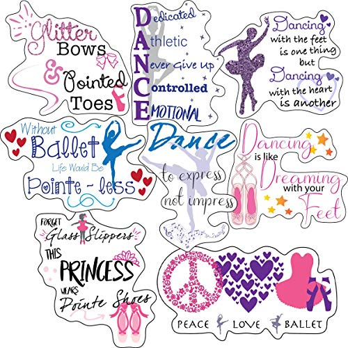 Ballerina Stickers - Perfect Ballet Gifts for Girls - Waterproof, Extra Sticky, Durable 100% Vinyl - Work Great On Ballerina Water Bottles, A Laptop, Car Decal, Or As Party Favors