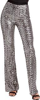 Allumk Women's Sexy Glitter Sequin Wide Leg Bell Bottom...