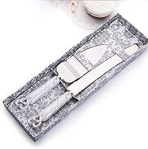 Cake Knife Server Set with Fashion craft Baroque,Interlocking hearts design, Elegant Stainless Steel Silverware For Personalized Weddings, Birthdays, Anniversaries