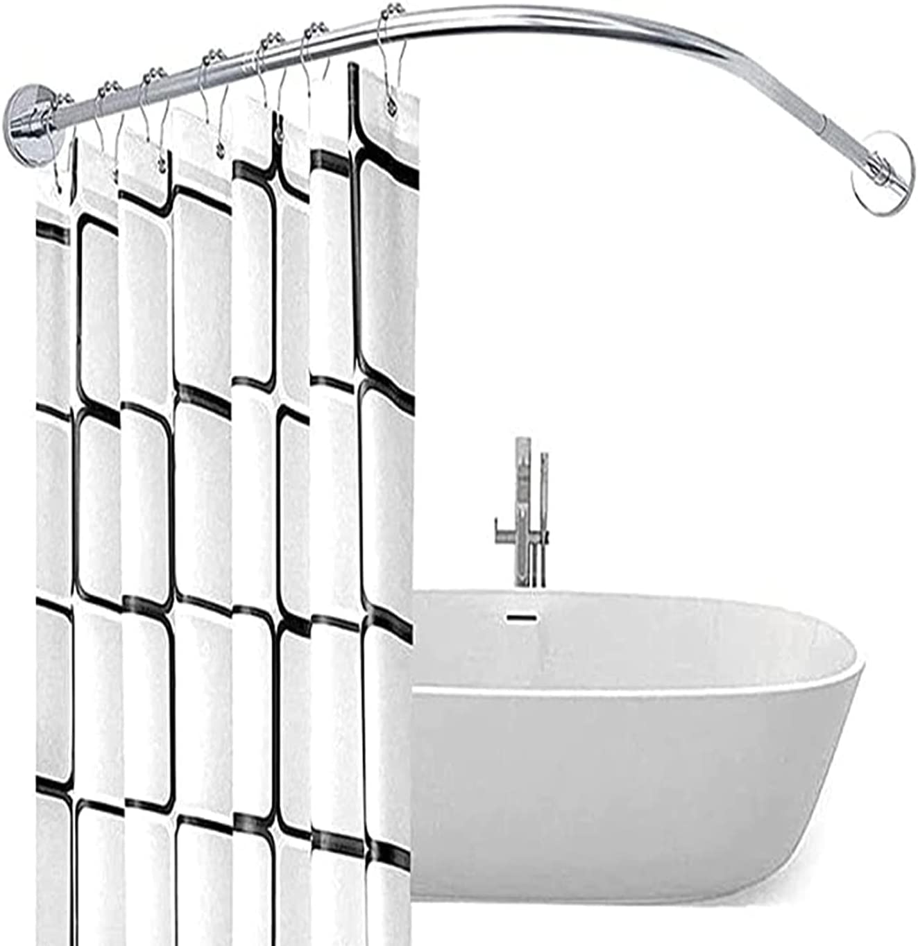 YTGH L-Shaped Curved Shower Weekly update Nippon regular agency Adjustable Curtain Rod Cu