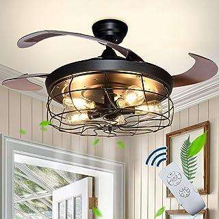 Depuley Plafonnier avec Ventilateur,Ventilateur de Plafond Industriel avec 4 Pales Rétractables,Télécommande,Utilisé dans ...