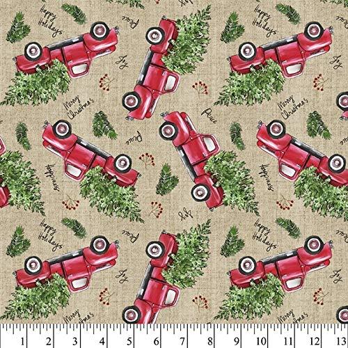 Christmas Trucks Cotton Fabric by The Yard, Precut 1 Yard Pieces