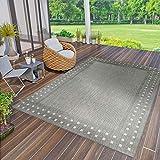 VIMODA Robuster Flachgewebe Teppich In- und Outdoor Tauglich 100% Polypropylen, Farbe:Grau, Maße:140x200 cm