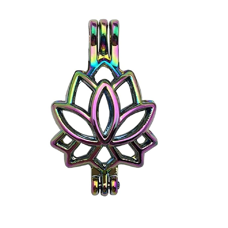 10pcs Colorful Rainbow Flora Pearl Cage Bead Cages Pendants for Jewelry Making/Aromatherapy Essential Oil Scent Diffuser Locket Pendant (Lotus Flower 1)