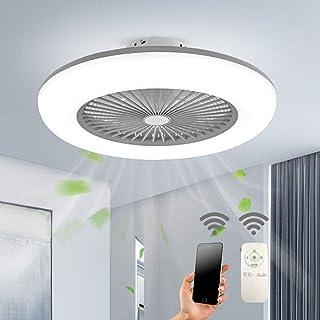 HZJ 36W Luz de Techo con Ventilador Creativa Ventilador de Techo con Luz y Mando a Distancia Silencioso Reversible Luces de Techo Puede Sincronizar Sala de Estar Lámpara de Dormitorio,Gris
