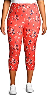 Women's Plus Size Super Soft Sueded Printed Capri Leggings (3X, Coral Sunshine Ditsy)