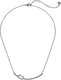 Pave Bar with Stone Necklace 16""