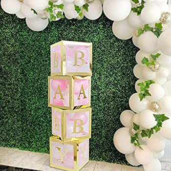 Baby Shower Boxes Party Decorations – 4 pcs Gold Transparent Partry Boxes Decor with Gold Letter Individual BABY Blocks Design for Sunflower Baby Shower Bridal Showers Birthday Party Gender Reveal