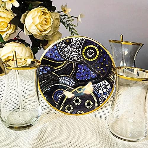 Juego de 12 piezas de piedra figurado para 6 personas, platos de té de dibujo impreso, vasos dorados, vasos de Paşabahçe