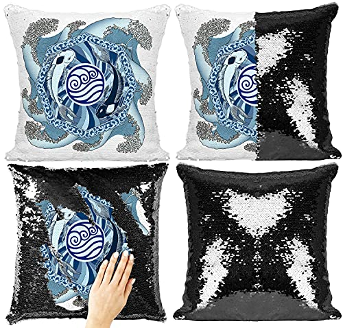 Fan-dom Fundas de almohada de lentejuelas coloridas decorativas con lentejuelas reversibles que cambian de color, funda de almohada cuadrada de felpa, lentejuelas mágicas (estilo 2)