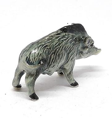 ZOOCRAFT Ceramic Boar Figurine Wild Animal Pig Miniature Statue Garden Home Decor DIY Craft