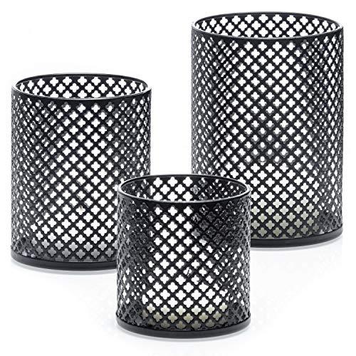 Decorative Metal Candle Holders Set of 3 - Complementary 3 Votive Candles - Elegant Matte Black Finish - Candle Holder Centerpiece for Table - Home Decor Accents - Velas Decorativas