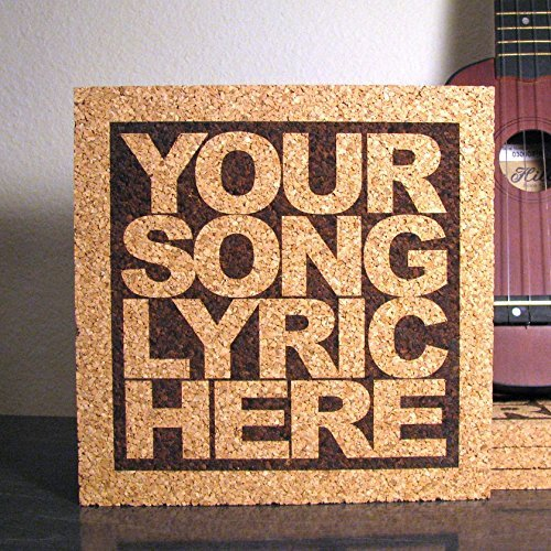 Personalized Cork Lyric Trivet - Custom Text - Wall Hanging Kitchen Art / Hot Pad