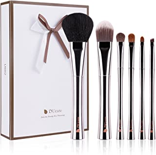 DUcare 6 Piece Makeup Brushes Set Copper Luxury Goat Sable Natural Hair Foundation Eyeshadow Kit with Holder Case