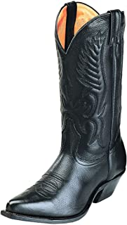 Men's Fancy Stitched Cowboy Boot Pointed Toe Black 13 EE US