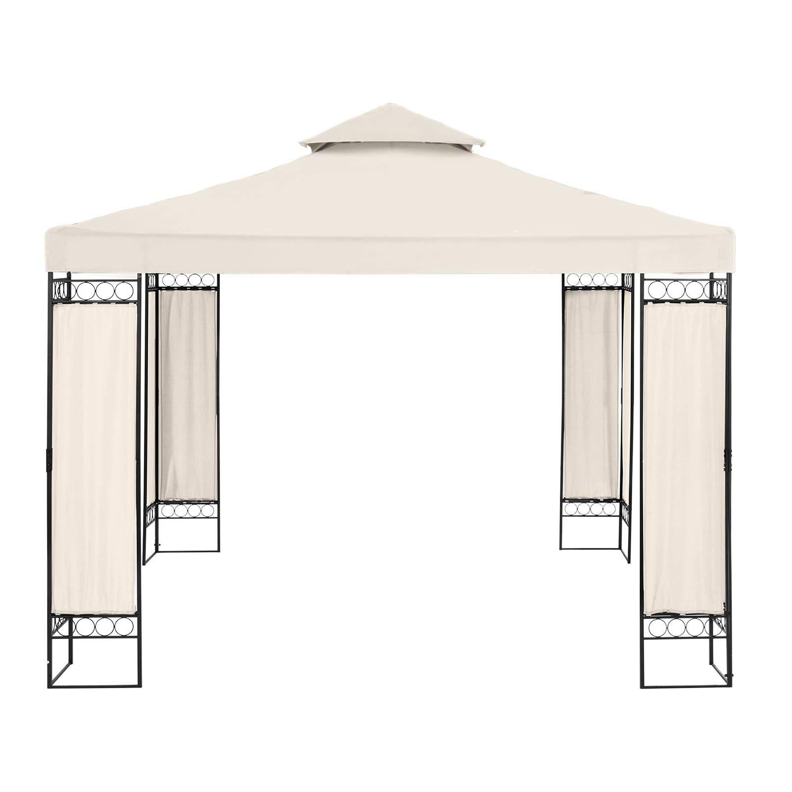 Uniprodo Pérgola De Metal Cenador para Jardín Uni_PERGOLA_3X3BF (Dimensiones: 3 x 3 m, Altura Total: 2, 60 m, Densidad de la Lona: 160 g/m2, Beige): Amazon.es: Jardín