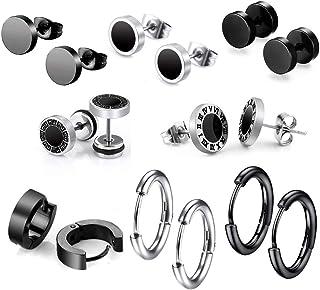 8 Pares de Pendientes de Acero Inoxidable para Hombres 8 mm de Acero Inoxidable Clip Pendientes de Esmalte Piercing Ear B...