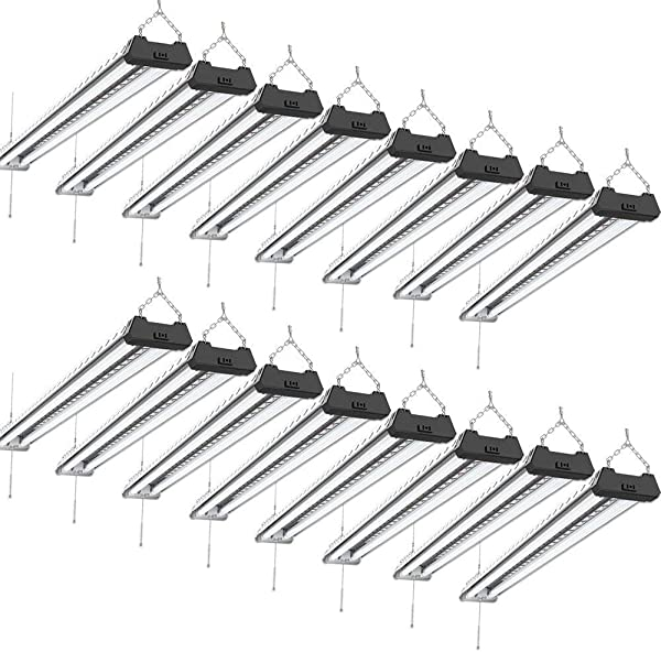 Sunco Lighting 16 Pack Industrial LED Shop Light 4 FT Linkable Integrated Fixture 40W 260W 5000K Daylight 4000 LM Surface Suspension Mount Pull Chain Utility Light Garage Energy Star