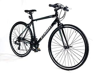 クロスバイク 自転車 700x25C シマノ製14段変速 軽量アルミ製フレーム 前輪クイックリリース 前後キャリパーブレーキ ワイヤ錠・ライトのプレゼント付き マウンテンバイク ブラック SY-23BK