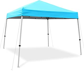 Ohuhu EZ Pop-Up Slant Leg Canopy Tent, 10 X 10 FT Reinforced Steel Frame Commercial Instant Shelter with 3 Adjustable Heights, Easy-Carrying Lightweight & Durable Canopy with Wheeled Carry Bag, Blue