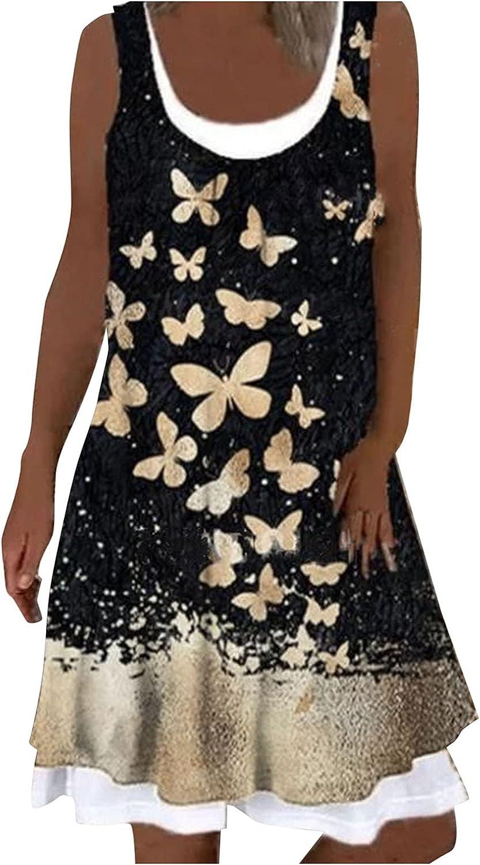 Gillberry Boho Dresses for Women: Summer Dresses for Women Beach Sundress Sleeveless Casual Tank Midi Dress