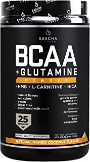 Sascha Fitness BCAA 4:1:1 + Glutamine, HMB, L-Carnitine, HICA | Powerful and Instant Powder Blend with Branched Chain Amin...