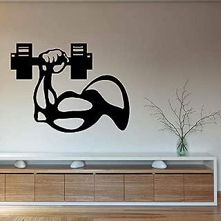 zrisic Wall Stickers Bodybuilder Vinyl Wall Decal Man Hand Dumbbell Gym Interior Decor Art Mural Fitness Centre Decor Wall Decor 76x56cm