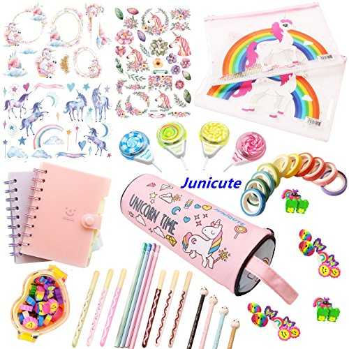 WZ Assorted Unicorn School Supplies Pen Pencil Case Eraser Note Stationery Gift Set (48Pcs)