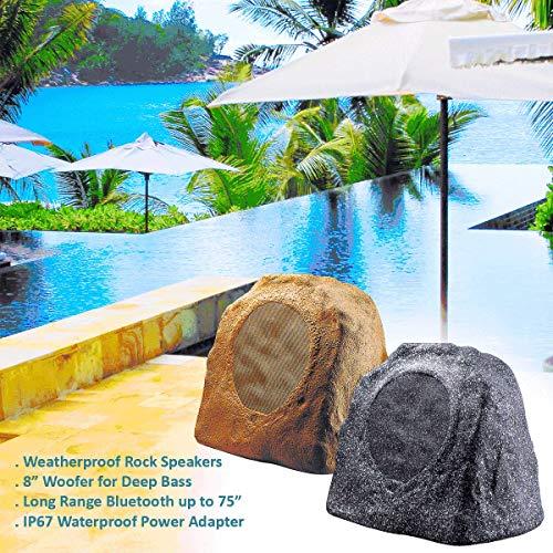 "OSD Audio 8"" 100W Bluetooth Outdoor Rock Speaker - Water Resistant, Pair, Granite Grey - BTR805"