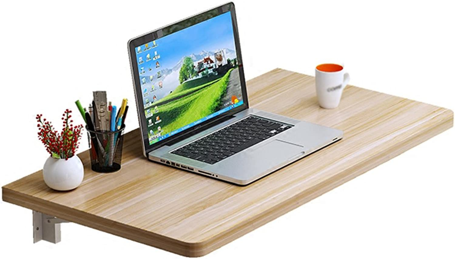 Djyyh Solid Wood Folding Dining Table Wall-Mounted Double Support Computer Working Desk(color Light Walnut, Size Optional) (Size   60  30cm)