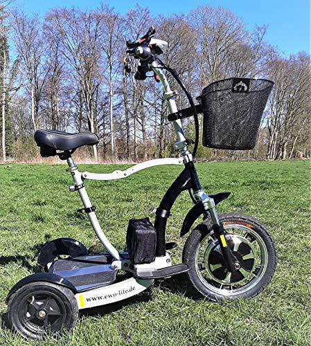 EWO life Elektro-Rollator, 3in1 mit der Möglichkeit zum Gehen oder auch im Sitzen oder Stehen fahren zu können.