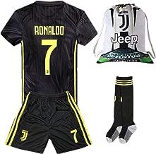 NTauthentic Juventus 7 Ronaldo Shirt Home Soccer Shirt for Kids/Youth with Socks & Shorts & Gym Bag
