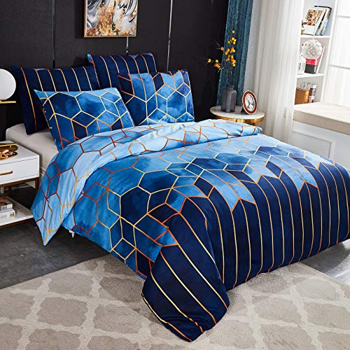 Dencalleus Geometric Printed Duvet Cover Set, Brushed Microfibre Nordic Soft Quilt Covers with Corner Ties, King Size, Boho Bedding Sets with Zipper Closure and Easy Care Hotel Quality, Blue