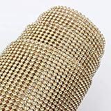 AUBERSIT Aluminio Base Plateada SS8 crystalAB con Pegamento Malla de Diamantes de imitación, Cristal Dorado, 48 Filas