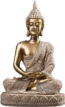 PPCP Handmade Small Meditating Sitting Sculpture Home Decor Desk Crackle Shrine Resin Office Craft Buddha Statue Figurine ...