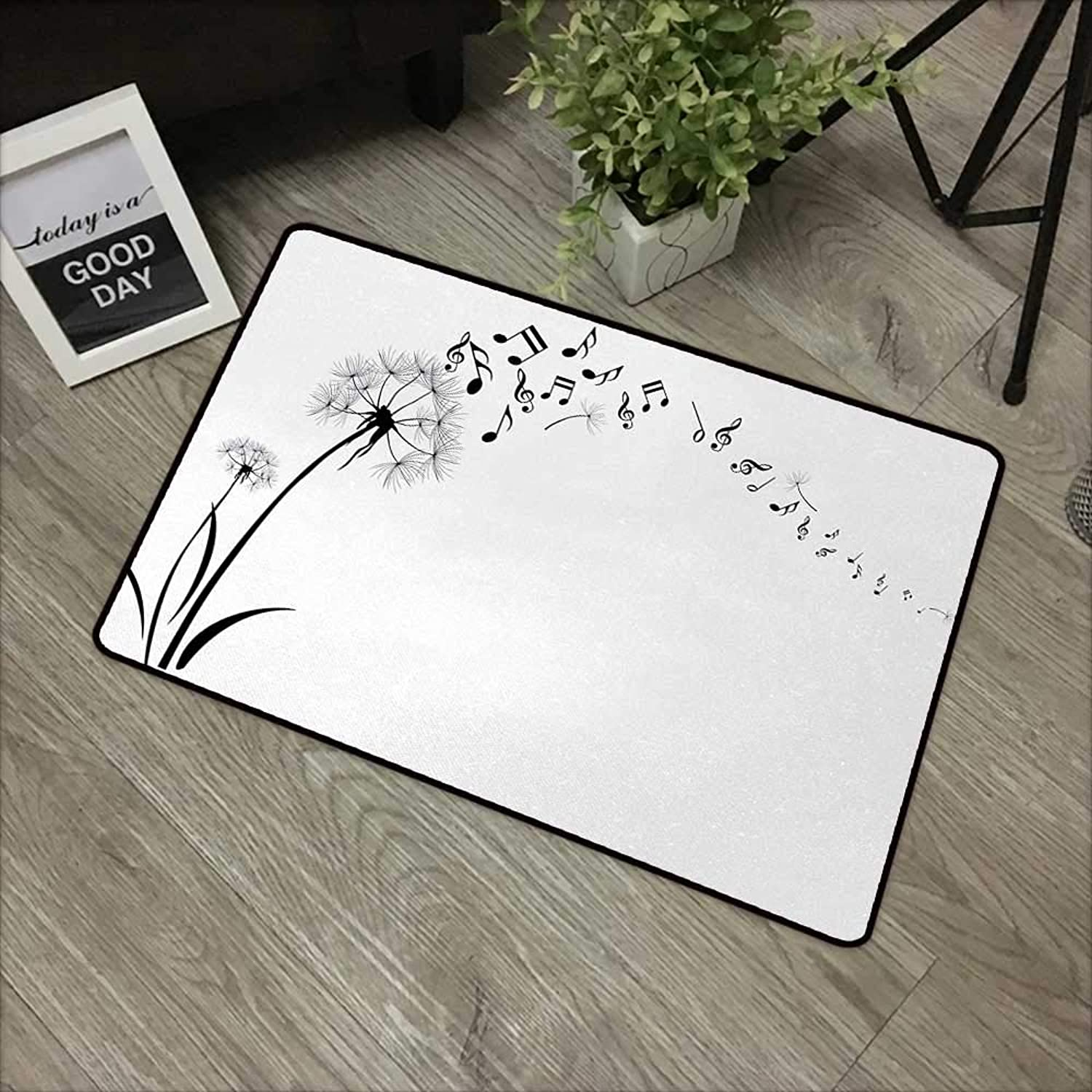 Bedroom Door mat W35 x L59 INCH Music,Flying Dandelions with Note Music Summer Meadow Silhouette Softness Simple,Black White Non-Slip, with Non-Slip Backing,Non-Slip Door Mat Carpet