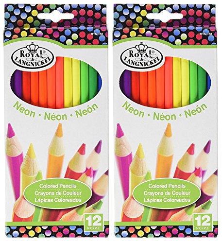 2-Pack - Royal Brush RTN-158 Neon Colored Pencils - 12/Pkg