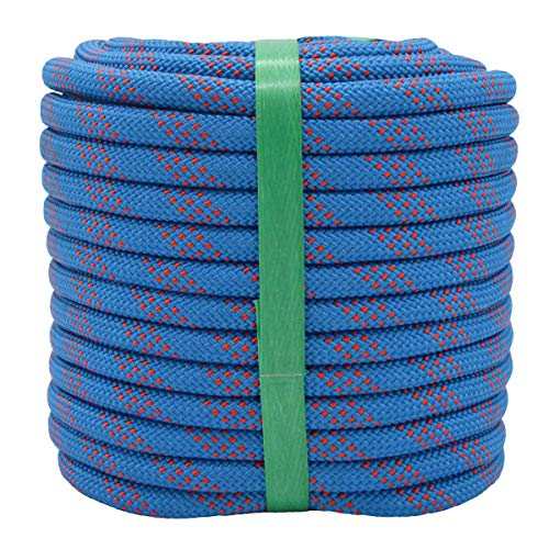 YUZENET Braided Polyester Arborist Rigging Rope (3/8' X 100') Strong Pulling Rope for Climbing Sailing Camping Swings,Blue/Red