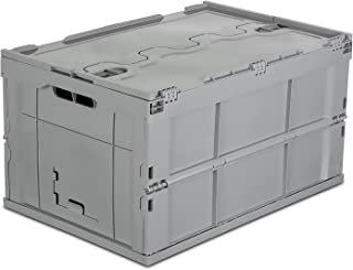 Mount-It Folding Plastic Storage Crate, Collapsible Utility Distribution Container with Attached Lid, 65L Liter Capacity (MI-908), Pack of 1