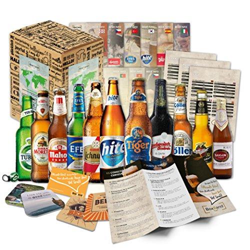 """""""BIERE DER WELT"""" 12 Flaschen ++ Geschenkkarton ++ Bierinformationen ++ Bierdeckel. Biergeschenk für Männer/Geburtstag/Ostern/Weihnachten etc. Die perfekte Geschenkidee für Männer"""