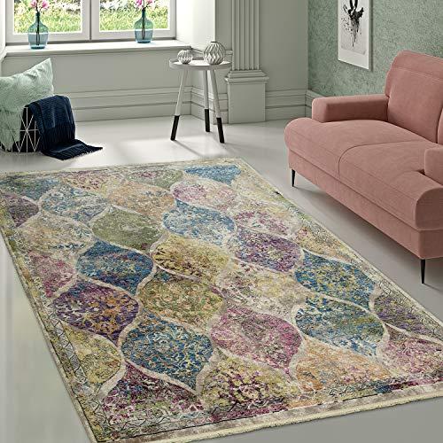 Alfombra Diseño para Salón Estampado Marroquí Colores Variados, tamaño:80x150 cm