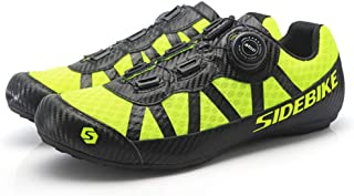 OneChange Men's Cycling Shoes, Casual Cycling Shoes Road Mountain Unisex No Lock Breathable Rotating Buckle Assist Outdoor Cycling Shoes (Color : Yellow, Size : 38)