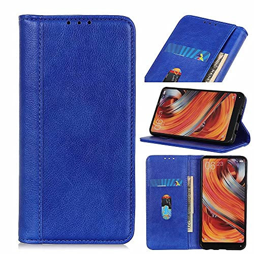 Funda para Samsung Galaxy S21 Ultra 5G, a prueba de golpes, funda de piel sintética, con función atril, ranura para tarjeta de crédito, cierre magnético, color azul