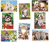 alles-meine.de GmbH 8 TLG. Set: Mini Puzzle / Minipuzzle 54 Teile - Tierkinder / Hund Katze - für...