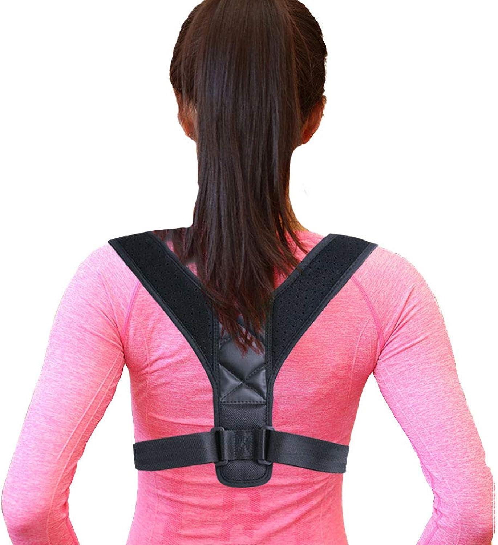 Posture Aligner Magnetic Shoulder Lumbar Support Strap Adjustable for Improved Poor Posture Back Support  Black