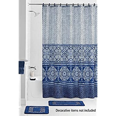 15 Piece Bath set: 2 Navy Blue Bathroom Mats, 1 Matching Shower Curtain, 12 Fabric Rings- Medallion