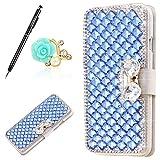 Uposao Housse iPhone 5C Coque Crystal Bling Gliter Sparkle Paillette Diamants Coque en Cuir PU Complète Coque Portefeuille PU 3D...