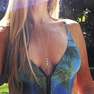 Yean Crystal Necklace Body Chain Silver Crossover Belly Harness Chain for Women and Girls