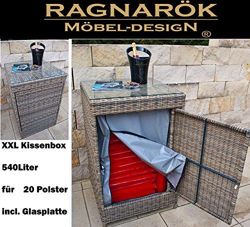 Ragnarök-Möbeldesign PolyRattan Kissenbox DEUTSCHE Marke - EIGENE Produktion - 8 Jahre GARANTIE Glasplatte für 20 Kissen Naturfarben Rundrattan-Design Gartenmöbel Aluminium Rattan Beistelltisch
