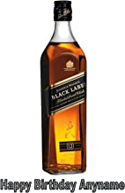 Baking Bling Bottle Johnnie Walker Black Label Whisky A4 Personalised Name Age Birthday Easy Peel PRE-Cut Edible Icing Cake Topper